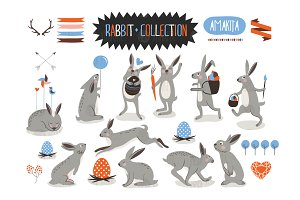Rabbit and easter clipart