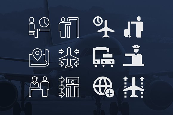 Squared Glyph Stroke Icons Creative Market