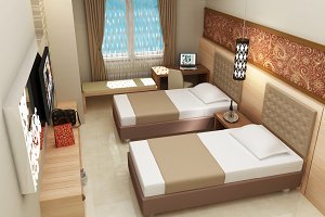 Hotel room double bed