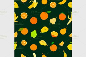 pattern with colored fruits.