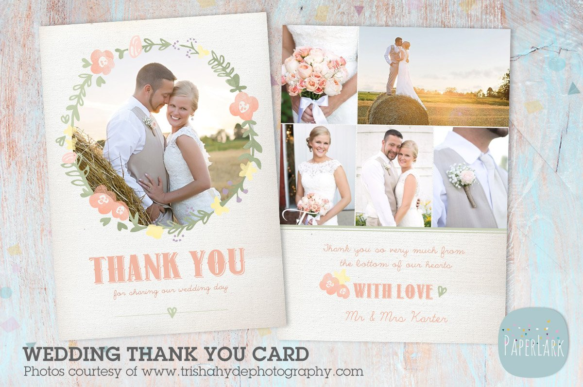 aw014 wedding thank you card card templates creative market - Wedding Thank You Cards