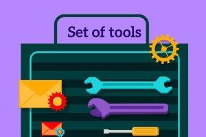 Set of Tools for Seo Flat Design