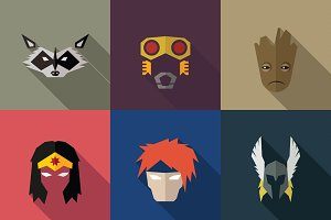 SuperHeroes Masks Flat (Set 04)