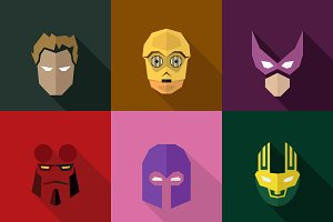 SuperHeroes Masks Flat (Set 06)