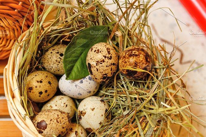 Quail eggs in basket. Delicatessen. - Food & Drink