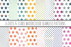 16 Watercolor Patterns Stars & Dots