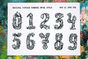 Original vintage numbers swirl style