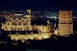 night view Cathedral of Granada