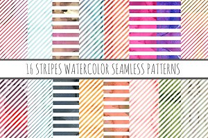 16 Watercolor Patterns Stripes