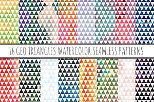 16 Watercolor Patterns Geo Triangles