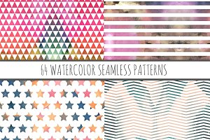 64 Watercolor Seamless Patterns