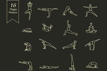 Set of linear Yoga poses.