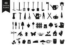 Gardening Black Icons Set.