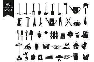 Gardening Black Icons Set.