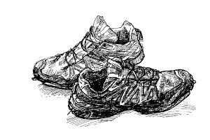Pair of old running shoe