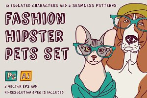 Vector fashion pets set