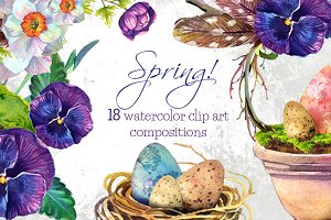 Spring!- 18 watercolors clip arts