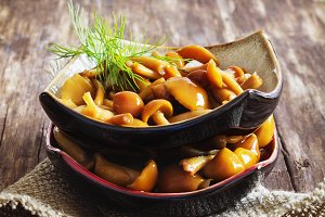 marinated mushrooms in a bowl