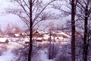 snowy village near the Volga
