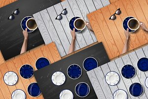 Hands with coffee cup, blue plates