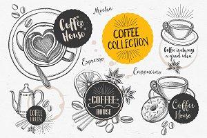Coffee doodle elements
