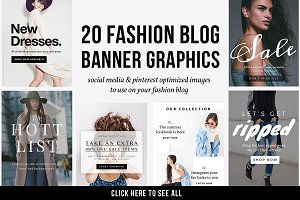 20 Fashion Blog Banner Graphics PSD