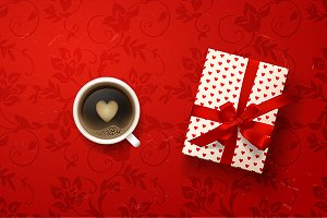 Hot Coffee cup with gift box