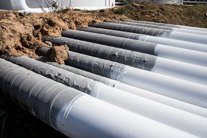 steel pipes on a newly built