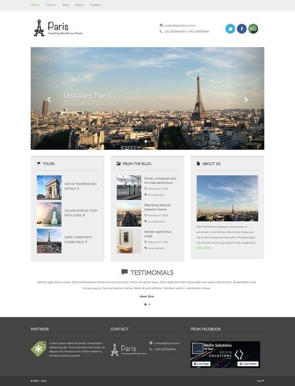 Paris WordPress Travelling Theme