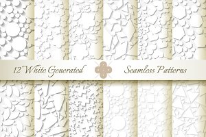 12 Seamless Generated White Patterns