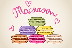 Set of 6 macaroon illustrations