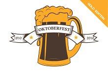 Oktoberfest set logo emblem. beer