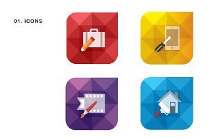 Geometric Icon Set for Web Design