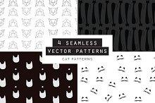 Cats Seamless Patterns Set of 4
