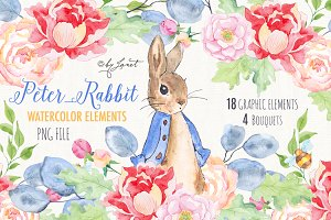 Mr Rabbit - watercolor clipart