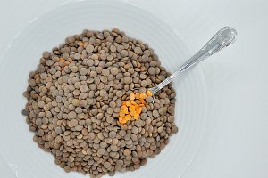 lentils and spoon