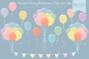 Pastel Party Balloons Clip Art