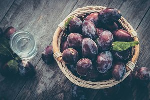 Plums with drink