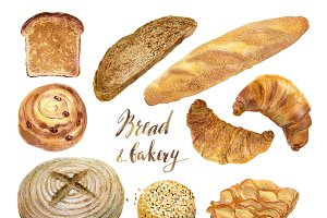 Watercolor bakery, bread collection