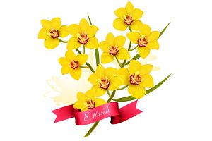 Holiday Yellow Flowers Background