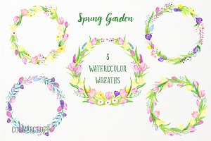 Watercolor Spring Flower Wreath