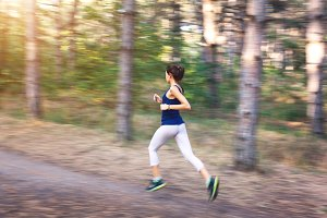 Running woman in motion
