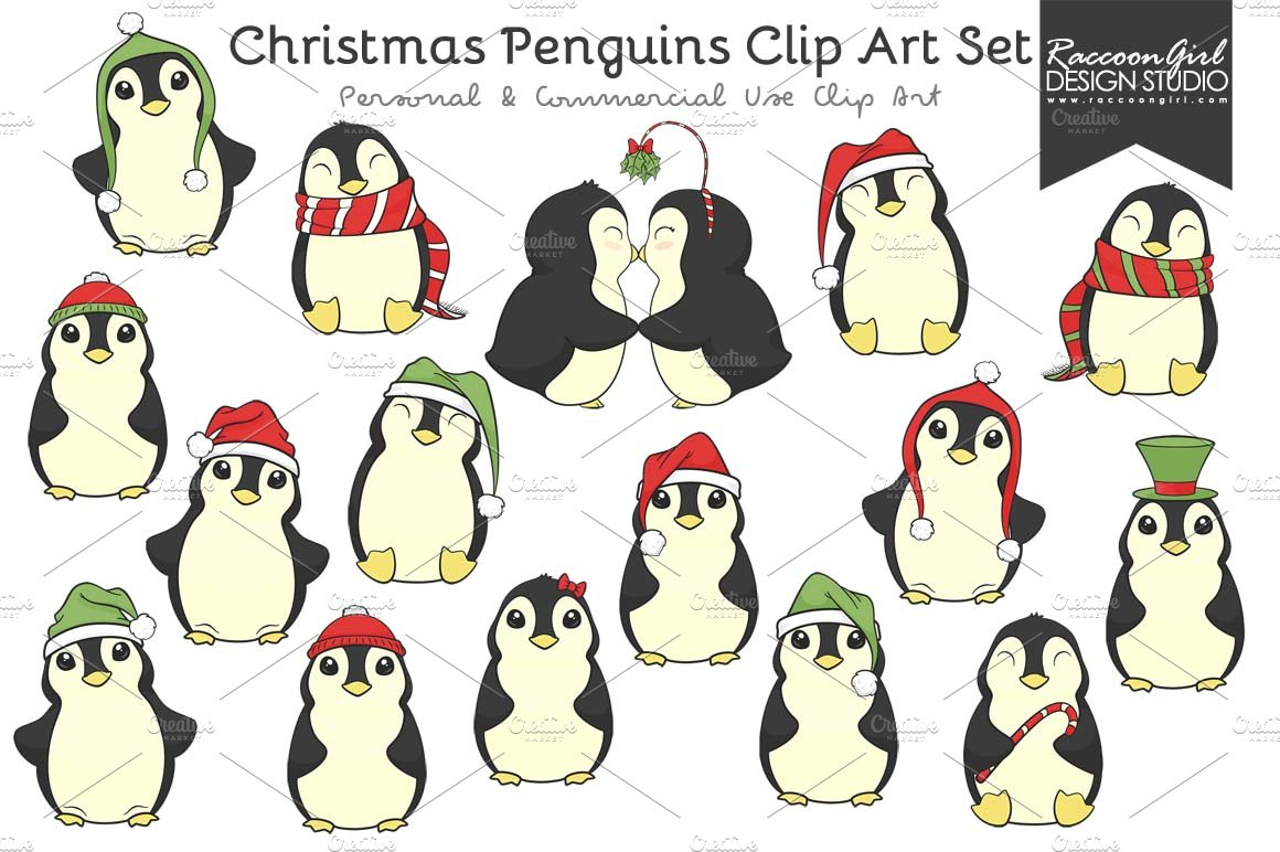 christmas penguins clip art illustrations creative market