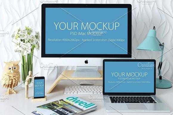 imac macbook iphone mockup