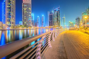 Beauty panorama of Dubai marina