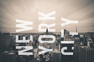 New York City Skyline and Text