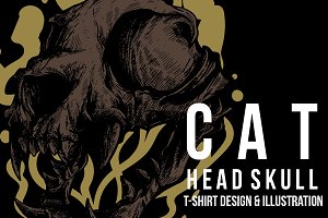 Cat Head Skull Illustration