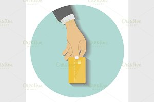 Hand hold credit card to pay
