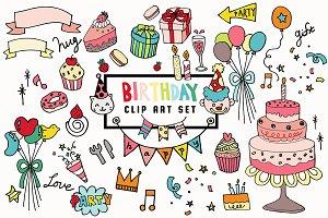 Hand-drawn doodle birthday set