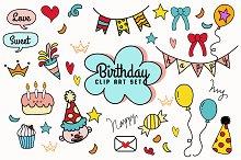 Hand-drawn birthday mini set